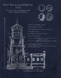 split rock lighthouse architectural blueprint print duluth