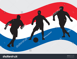 Hollanda Flag Soccer Player Silhouettes Front Holland Flag Stock Vektorgrafik
