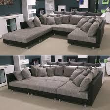 wohnlandschaft 300x300 wohnlandschaft claudia xxl ecksofa couch sofa mit hocker schwarz