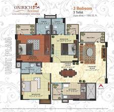 3 bhk 1666 sq ft apartment for sale in oxirich avenue at rs 3 bhk 1666 sq ft apartment floor plan