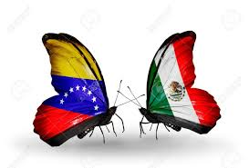 Venezuela Flag Colors Two Butterflies With Flags On Wings As Symbol Of Relations