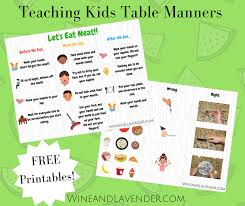 table manners for kids printable teaching kids table manners wine and lavender