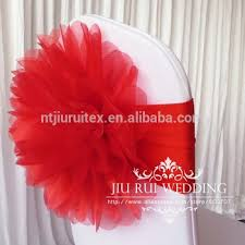 Spandex Chair Bands Sale Fashion Handmade Organza Flower With Lycra Chair Band