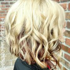 blonde hair with chunky highlights blonde with red underneath chunky highlights brown base and bright
