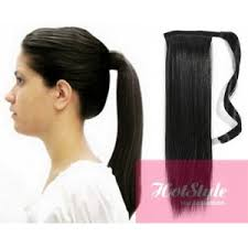 clip on ponytail clip in ponytail wrap braid hair extension 24 black