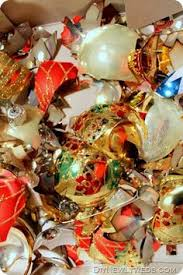 re use those pesky broken ornaments into a clear