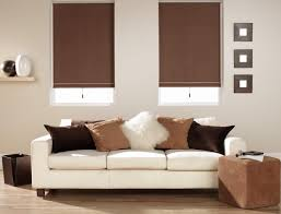 Embellish Home Decor by Outstanding Bay Windows Decor With Brown Roller Blinds Windows