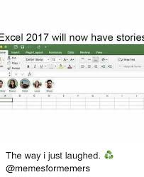 Meme Stories - excel 2017 will now have stories insert page layout formulas data
