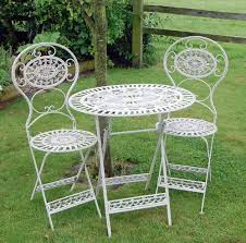 Wrought Iron Cafe Set by Metal Garden Table And Chairs Homes And Garden