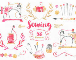 sewing machines watercolor clipart 9 hand painted images