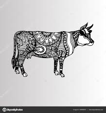 silhouette of a cow with patterns and ethnic ornaments ornaments