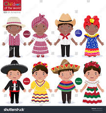 different traditional costumes jamaica cuba stock vector