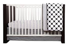 bacati dots pin stripes black white 10 pc crib set including