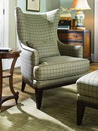 gray plaid pattern fabric chair with high backrest combined with