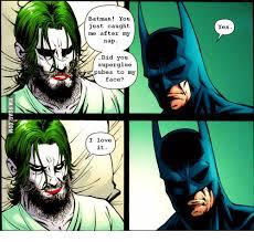 Batman Face Meme - batman you just caught me after my nap did you superglue pubes to