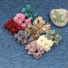 6pcs rural 4cm linen rose artificial handmade flower for wedding