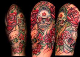 flowers and skull sleeve