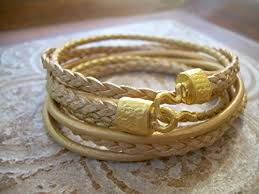 gold clasp leather bracelet images Women 39 s triple wrap gold leather bracelet with 22k gold plated jpg