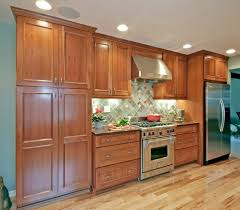 espresso stained cherry cabinets kitchen traditional with light