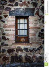 Rustic House Window Rustic House With Railings Protection From Thieves Stock
