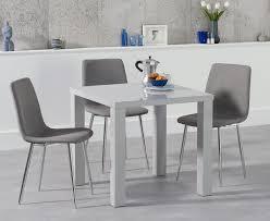 atlanta 80cm light grey high gloss dining table with helsinki