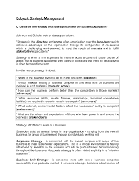 Answering The Essay Short Answer Exam Question Quality Writing by Strategic Management Question Answer