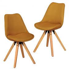 Esszimmerstuhl Ebay Wohnling 2er Set Esszimmerstühle Retro Küchenstühle Stoff Curry
