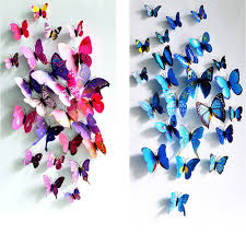 multicolor 24pcs 3d butterfly wall stickers home decor 12pcs add