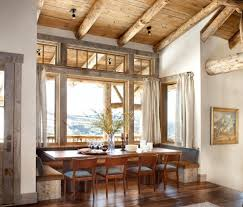 Window Treatments For Bay Windows In Dining Rooms Barn Wood Trim Ideas Dining Room Rustic With Dining Room Ceiling