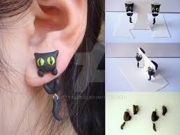 cat earrings black cat clinging earrings by kittyazura on deviantart