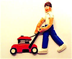 personalized boy with lawn mower ornament ornament helzer s