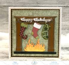 happy holidays fireplace christmas card