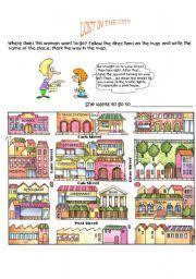 english worksheet giving directions game 1 english pinterest