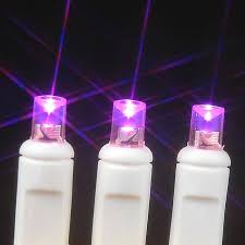 20 led battery operated lights pink on white wire