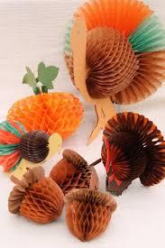 vintage autumn fall decorations honeycomb tissue paper acorns