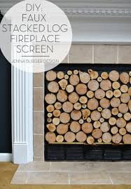 faux stacked log fireplace screen jenna burger