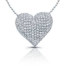 heart necklace with diamonds images White gold puffy diamond pave heart pendant jpg