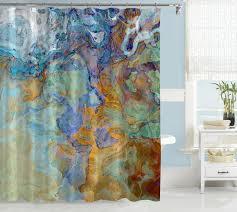 contemporary shower curtain orange blue green brown blue