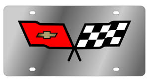 c3 corvette flags stainless steel license plate with c3 corvette flags
