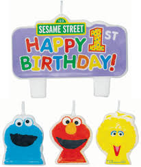 1st birthday candle sesame 1st birthday molded cake candle set parties4kids