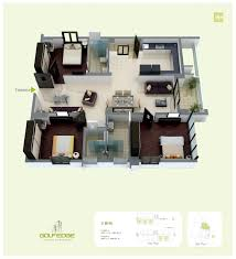 3 bhk apartment floor plan golf edge floor plans premium 2 u0026 3 bhk apartments starts from