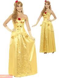 ladies golden princess costume fairytale beauty belle womens