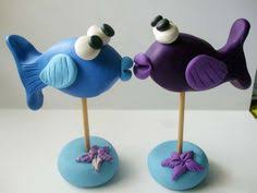 fish cake toppers stingray and puffer fish wedding cake topper by lavagifts