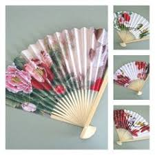 oriental fan wall hanging vintage chinese japanese hand held floral print folding silk bamboo