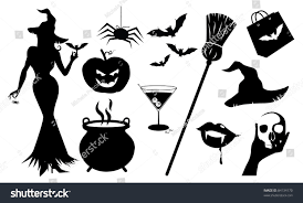 halloween silhouette icons collection detailed halloween stock