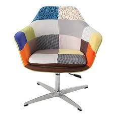 modhaus modern patchwork fabric upholstered swivel accent chair