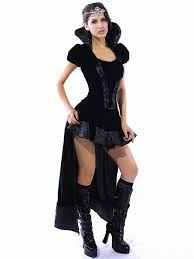 Cheap Women Halloween Costumes Vilanya Black 2 Pieces Short Sleeved Ruffles Wicked Queen Cheap