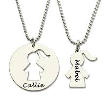 personalized pendants engraved name necklace set silver