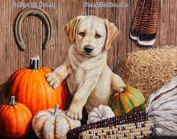 forest wildlife new fall theme puppy painting