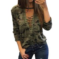 camo blouse 2017 t shirt camouflage v neck lace up halter tops